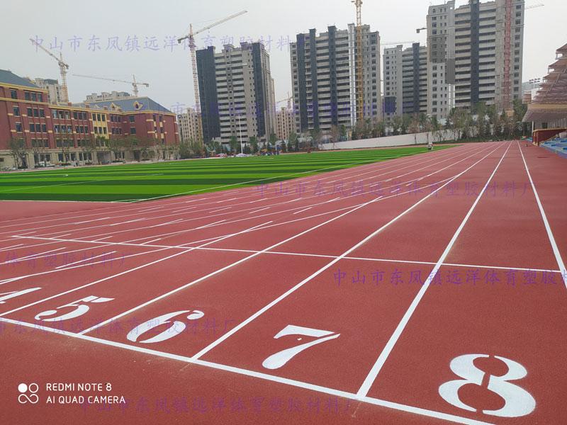 山东省泰安市崇信学校,全塑型自结纹跑道及草坪场地